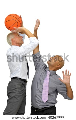 Two businessman with a basketball, playing isolated in white