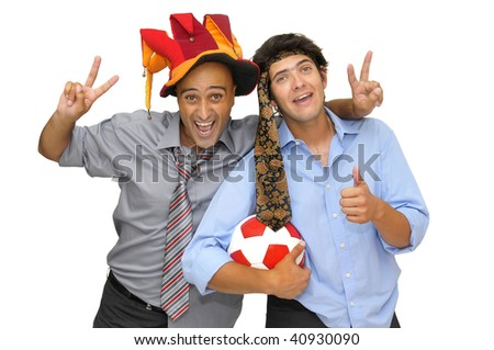 Two businessman with a soccer ball, partying isolated in white