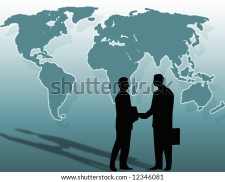 Two businessmen and a handshake in front of the world