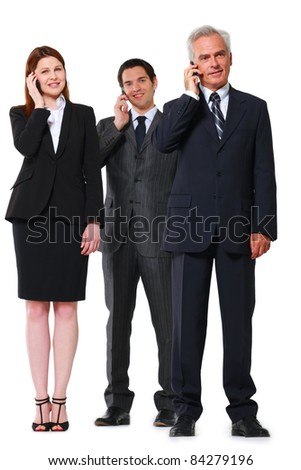 two businessmen and one businesswoman with mobile