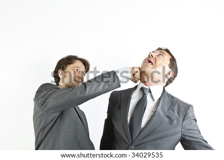 two businessmen fighting - stock photo