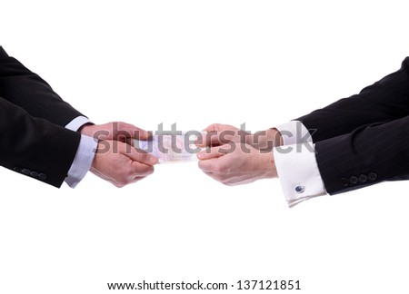 two businessmen fighting over money isolated on white