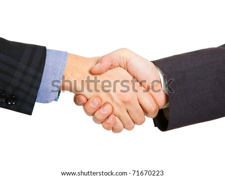 Two businessmen hands handshake isolated on white