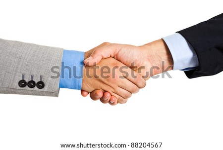 Two businessmen hands handshake isolated on white - stock photo