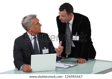 Two businessmen having heated debate