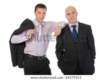 two businessmen in a business suit. Isolated on white background