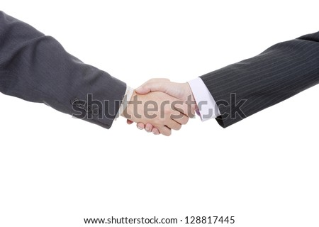 two businessmen in a handshake, isolated on white