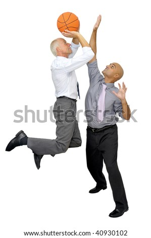 Two businessmen playing basketball isolated in white