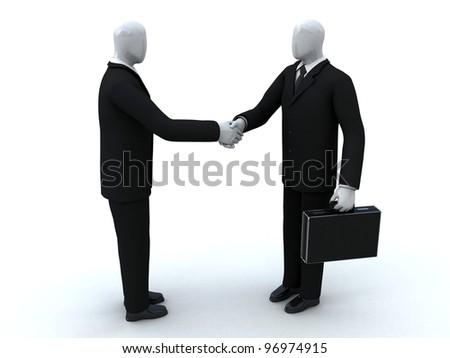 Two businessmen shake hands - stock photo