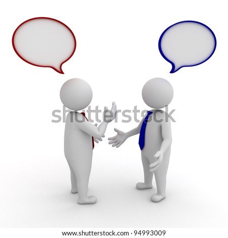 Two businessmen standing and talking with speech bubbles on white background