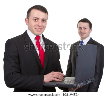 Two businessmen with a laptop, isolated on white