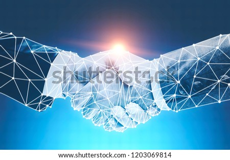 Two businessmen with polygonal hands shaking them over blue background. Partnership concept. Toned image