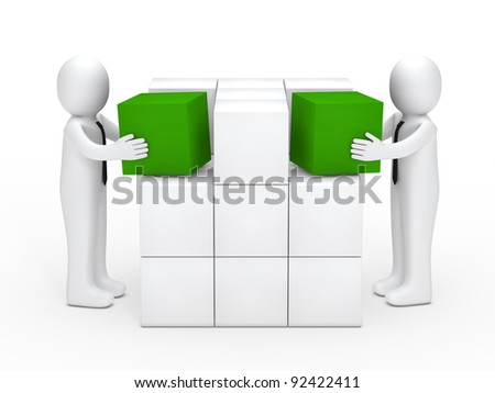 Two businessmen with tie stack green cubes