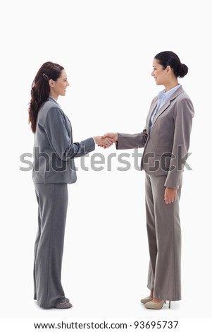 Two businesswomen shaking hands against white background
