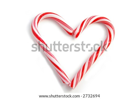 Two candy canes forming a heart shape, on white, soft shadow