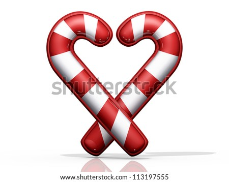 Two Candy crossed in a Heart shape on shiny white background.