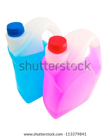 two canisters with liquid chemicals pink and blue color
