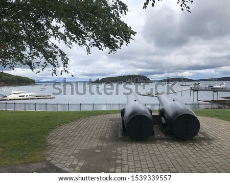 Two cannons facing the harbor of Bar Harbor, Maine. #1539339557
