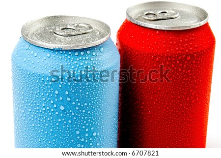 Two cans of soft drink