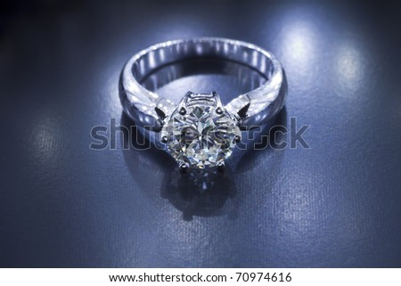 Two carat diamond ring with a dark textured background