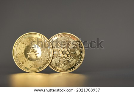 two cardano cryptocurrencies standing side by side overlapping one for each side of the coin glowing with side light and gray background with gold reflection in front