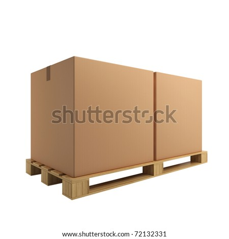 Two cardboard boxes on pallet