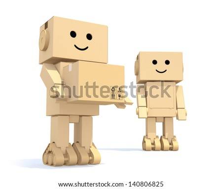 Two cardboard robots with depth of field