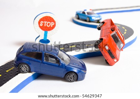 two cars accident crash on road and approaching police, insurance case, broken toys auto car