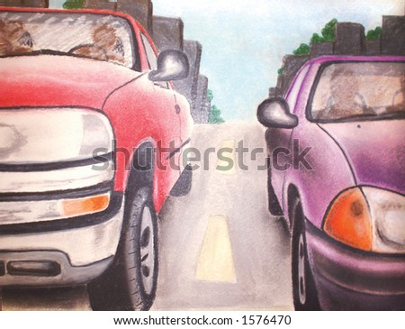 Two cars stopped