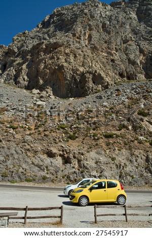 two cars stopped in Kourtaliotiko gorge Crete