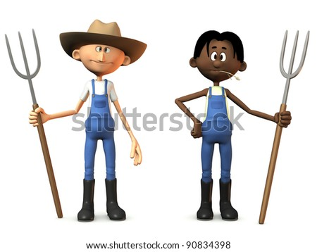Two cartoon farmers holding pitchforks. One of them is wearing a cowboy hat. White background.