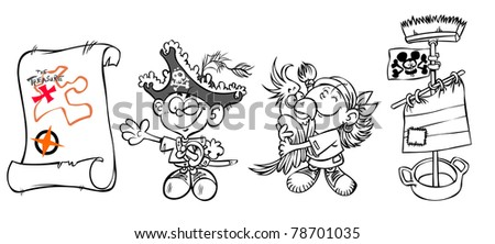 Two cartoon kids in pirate Costumes and accessories- outline drawing .