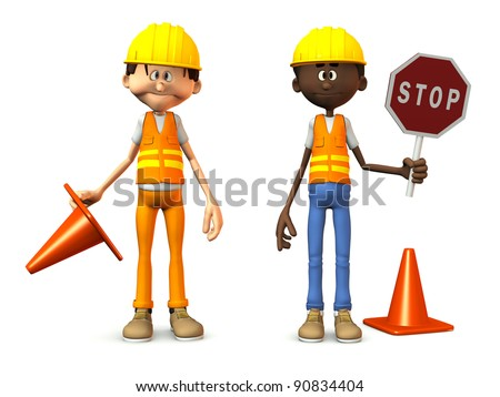 Two cartoon road workers wearing safety vests and holding stop sign and traffic cones. White background.