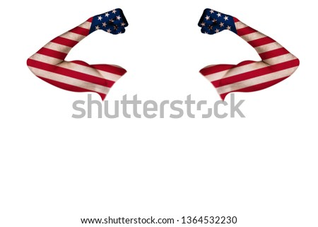 Two carved hands with a painted USA flag show muscles as a sign of strength, strength and readiness to fight, on a white background. Horizontal frame