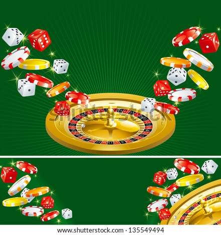 Two casino backgrounds. Wallpapers and banner of casino dices, chips and roulette  on green background.