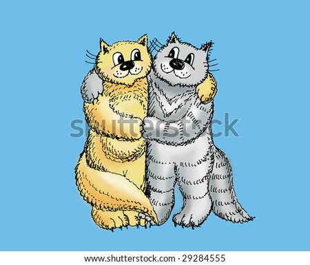 Two cats embrace and smile