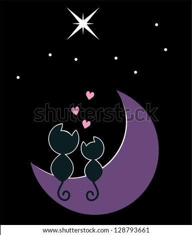 two cats in love sitting on the moon