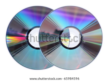 Two CD / DVD disks isolated on white. No scratches or dust.