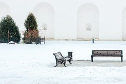 Two central park benches white covered snow and trees with copy space wall background