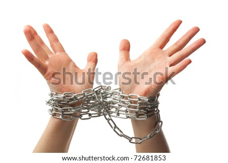 two chained hands, isolated on white background