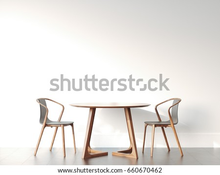 Two chairs and table in bright modern interior with white wall. 3d rendering