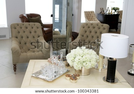 Two Chairs For Relaxing In The Living Room Beside The Table Stock Photo 100343381 Shutterstock