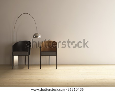 two chairs to face a blank wall