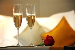 two champagne glass for valentine or honeymoon concept