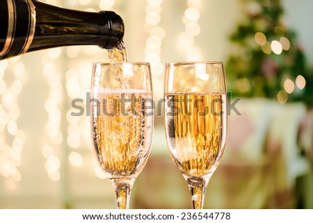 Two Champagne Glass On Defocused Background Living Room With Christmas Tree #236544778