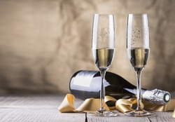 two champagne glasses and bottle,valentines day
