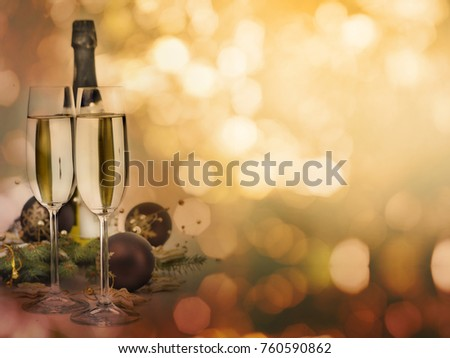 Two champagne glasses and christmas decoration with shiny bokeh lights background with copyspace. Christmas and New Year celebration party design. #760590862