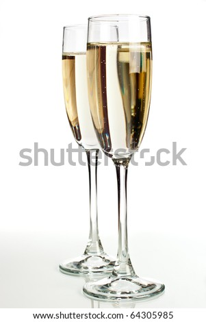 Two champagne glasses isolated on white background