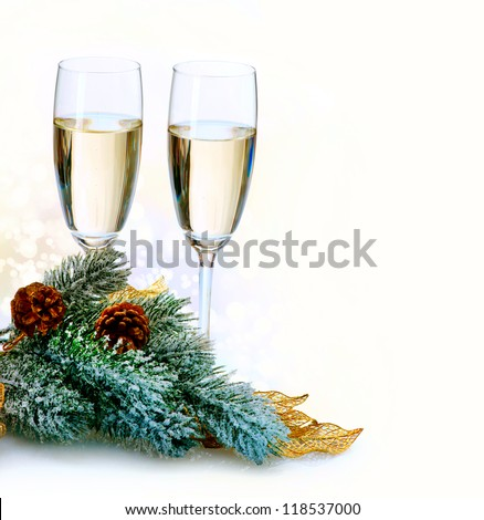 Two Champagne Glasses.New Year Card Design with Champagne. Christmas Celebration. Over White Background