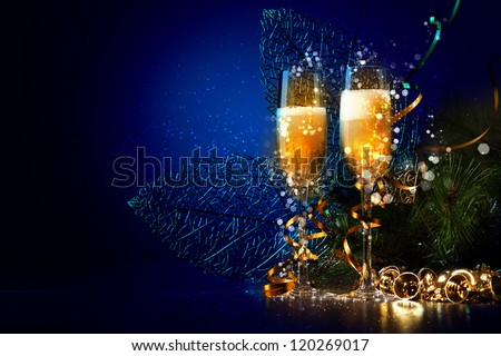 Two champagne glasses ready to bring in the New Year #120269017